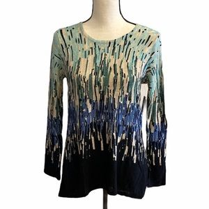 NIC + ZOE Sweater Top Pullover High Low Indigo